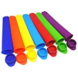 Zky - Silicone Popsicle Mold Snack Cup Ice Pop Mold Ice Cream Mold with Attached Lids (Set of 7)