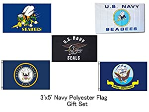 RFCO Wholesale Lot of 5 Navy Emblem, Navy Seals, Navy Ship, White Navy Seabees, and Blue Navy Seabees 3'x5' Polyester Flag Gift Set from AES