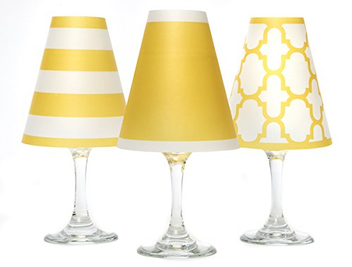 di Potter WS189 Nantucket Paper White Wine Glass Shade, Vibrant Yellow (Pack of 6) by di Potter
