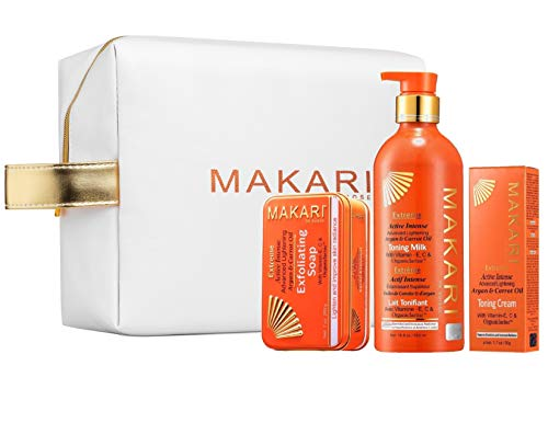 Makari Extreme Carrot & Argan Oil Skin Toning Gift Set - Lightening, Brightening & Tightening Regimen with 16.8oz Body Milk, 1.7oz Cream, 7oz. Exfoliating Soap, With MAKARI COSMETIC BAG