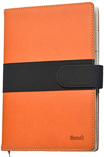 - Refillable Journal with Lined Pages, A5 Notebook to Write In, Writing Diary with Faux Leather Cover + Pen Loop for Personal Work Poetry by Bendt (Orange)