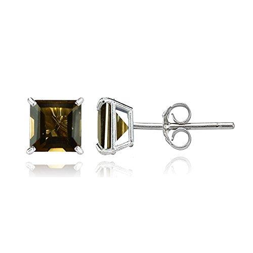Bria Lou 14k White Gold Smoky Quartz Gemstone 6mm Square-Cut Solitaire Stud - Earrings Smoky 24k