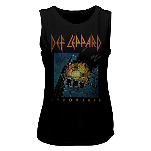 - Def Leppard English Rock Heavy Metal Band Faded Pyromania Ladies Muscle Tank Top