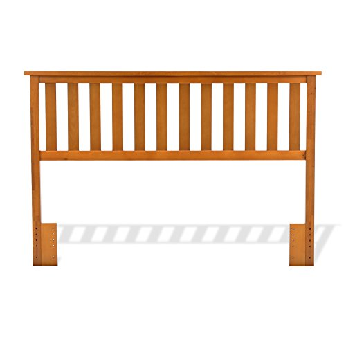 Leggett & Platt Belmont Wood Headboard Panel with Flat Top Rail and Slatted Grill Design, Maple Finish, Full / Queen