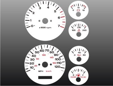 1996-1998 Jeep Grand Cherokee White Face Gauges