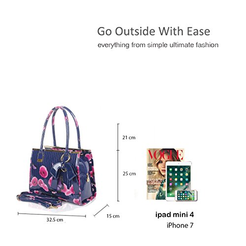 Ladies Handbag Dark handle Tote Grey Size Butterfly Print Floral 34x25x12 Shoulder Top Patent Shiny Women cm Bag ZqYvx0y