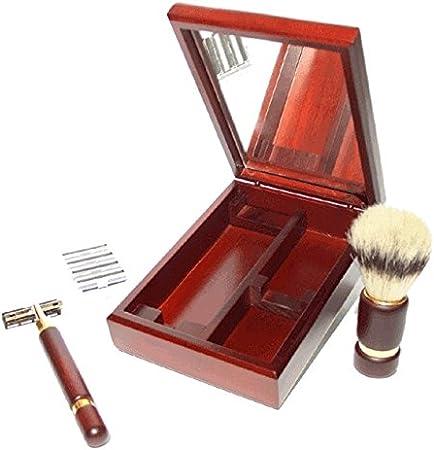 Set de afeitado con estuche de madera con espejo. T-01