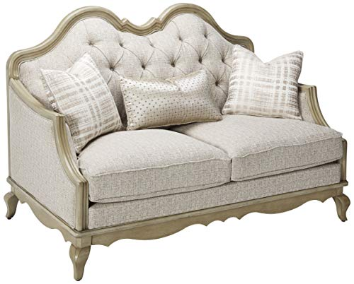 (ACME Chelmsford Beige Fabric and Antique Taupe Loveseat with 2 Pillows)
