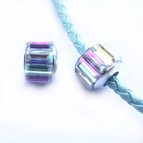 ORLEI 10pcs 10*12mm Silver Plated with Big Crystal AB Acrylic European Charms (Ab 12mm Beads)