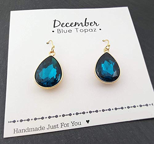 December Birthstone Earrings - Blue Topaz Crystal 14k Gold Filled Teardrop Earrings - Gift for Her