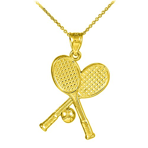 14k Yellow Gold Tennis Racquets and Ball Sports Pendant Necklace, 22