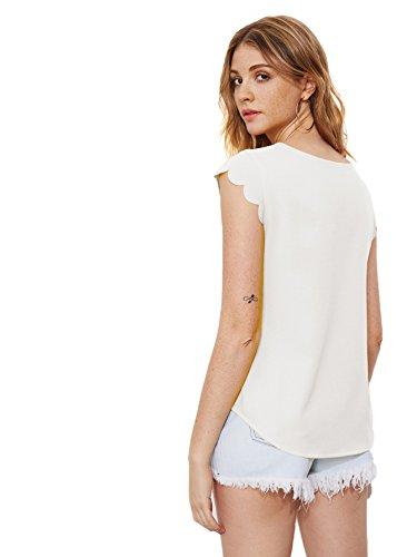avec Cape Blouse Manche Col Dentelle Femme Casual DIDK Rgulire T Top Shirts Coupe Blanc1 Rond qS48pw