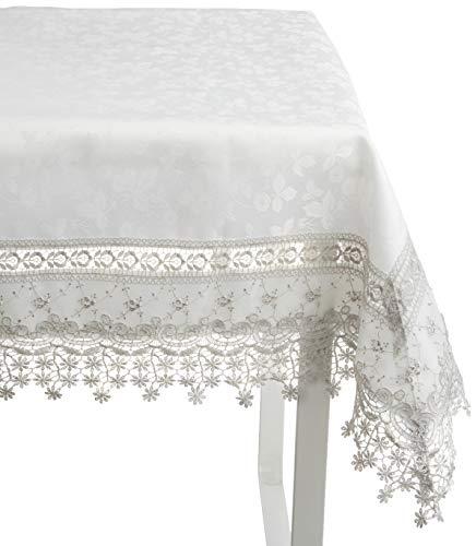 SARO LIFESTYLE Elegant Embroidered Floral Applique Tablecloth, 70