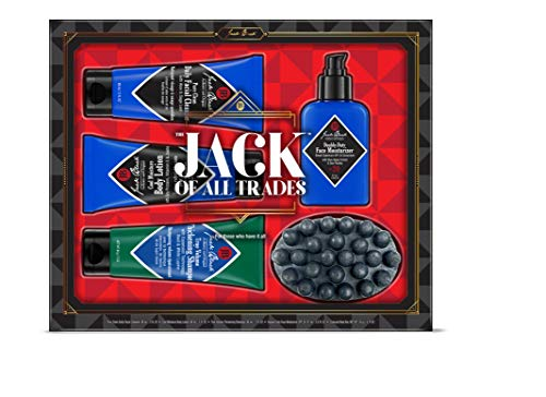 JACK BLACK - Jack of All Trades Set - Double-Duty Face Moisturizer SPF 20, Pure Clean Facial Cleanser, Cool Moisture Body Lotion, True Volume Thickening Shampoo, Charcoal Body Bar Soap. 5-Piece Kit. (Beard Lube Conditioning Shave)