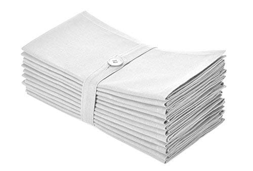 Cotton Craft Napkins - 12 Pack Oversized Dinner Napkins 20x20 White - 100% Cotton - Tailored with Mitered Corners and a Generous Hem - Napkins are 38% Larger Than Standard Size Napkins