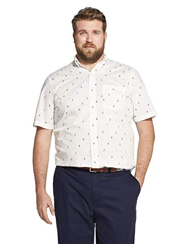 (IZOD Men's Big and Tall Breeze Short Sleeve Button Down Plaid Shirt, Bright White, 2X-Large)