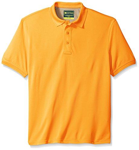 G.H. Bass & Co. Men's Short Sleeve Explorer Fish Tale Solid Mesh Polo, Flame Orange, 2X-Large ()
