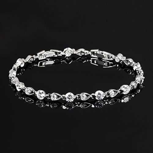 Stainless Steel Swarovski Elements Cubic Zirconia Bracelet with Extended Chain for Women 6.8+1.2'' by LOHOME (Image #1)