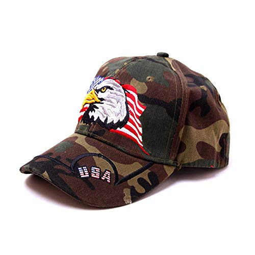 OutTop(TM) USA Flag Embroidery Eagle Baseball Cap Women Men Summer Outdoors Eagle Visor Adjustable Hat (G)