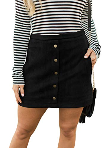 Fatty Tiger Women Bodycon Faux Suede Stretch Button Down Mini Skirt Stretchy Pencil Skirts Black ()