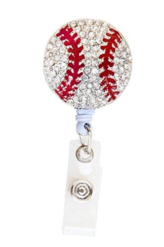 New Custom Bling Rhinestone 3D Baseball Badge Reel / Retractable ID Badge Holder / Pull Reel (Black Backing) (B: White Backing)