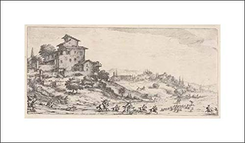 Jacques Callot - 20x12 Art Print by Museum Prints - Hunters on Horses and on Foot, with Hounds pursuing a stag, and Two Buildings in a hilly Landscape, from The Series 'Ita