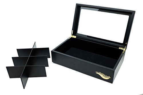 The Bamboo Leaf Luxury Wooden Tea Box Storage Chest, 8 Compartments w/Glass Window (Black) by The Bamboo Leaf (Image #5)
