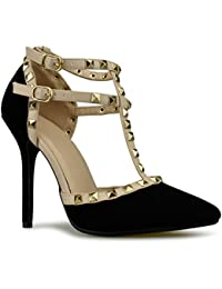 Women's Pointed Toe Studded Strappy High Heel Leather Pumps Stilettos Sandals
