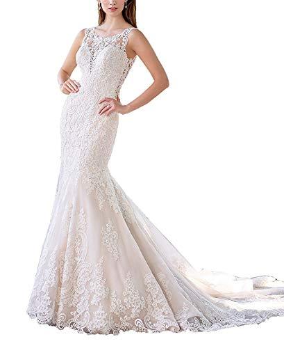 HelloLadyBridal Women's Lace Mermaid Wedding Dress for Bride 2019 Elegant Applique Bridal Gowns