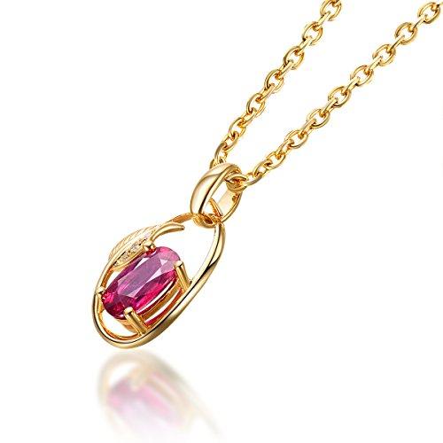 Hutang massif naturel Or jaune 18ct Diamant et rubis Pierre précieuse de forme de feuille Pendentif et collier pour femme fine Diamond-jewelry