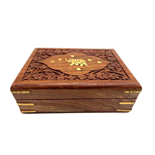 WhopperIndia Hand Carved Wooden Keepsake Jewelry Trinket Box Storage Organizer with Single Elephant and floral Carving Patterns & Velvet Interior (Hand Carved Jewelry)