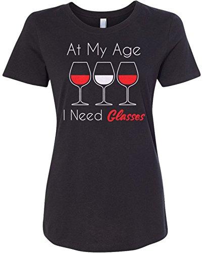 Threadrock Women's at My Age I Need Glasses Fitted T-Shirt XL Black (T Shirt At My Age I Need Glasses)