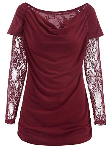 - KCatsy Womens O Neck Floral Lace Ruched Long Sleeve T Shirt Tops Blouse(2XL,Red)