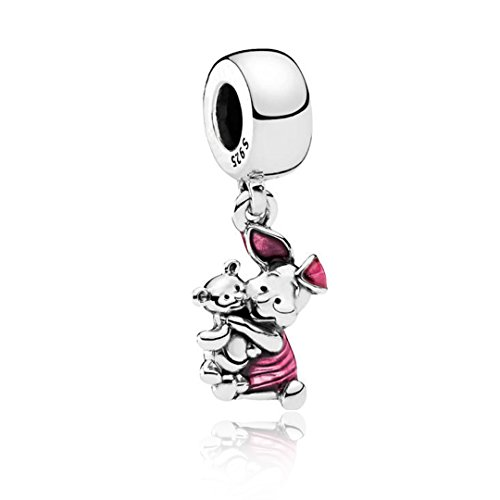 Kigmay Jewelry 925 Sterling Silver Enamel Piglet Transparent Cerise Dangling Animal Friendship Charm Bead Fit European Snake Chain Bracelet or Necklace