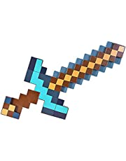 2in1 Diamond Sword Toy Set voor Minecraft, Pixel Netherite Pickaxe, Golden Axe, Stone Hoe, Fire Magic Lava Sword, Shield Model Weapon, Titans, Creeper Light Dolk,