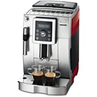 De'Longhi ECAM 23.420.SR Kaffeevollautomat (Digitaldisplay, Profi-Aufschäumdüse, Kegelmahlwerk 13 Stufen, Herausnehmbare Brühgruppe, 2-Tassen-Funktion) silber/rot