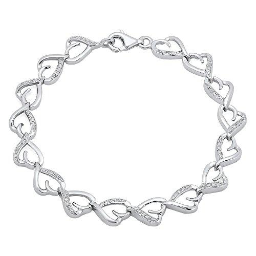 0.15 Carat (ctw) Sterling Silver Round Cut White Diamond Ladies Heart Tennis Link Bracelet