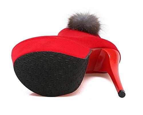 YE Damen Extreme High Heels Plateau Stiefeletten mit Fell Stiletto und Reißverschluss 16cm Absatz Boots Fashion Elegant Party Pumps Schuhe Rot
