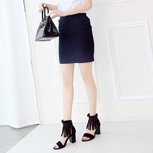 Shoes Heel Fashion TAOFFEN Toe Tassel Zipper Stylish Sandals Black Block Women with Open zOwwCAqx