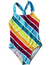 Liuzecai Trajes de baño Lindo Niñas Trajes de baño de una Pieza del Traje de baño de la Playa de Hawai Vendaje de baño para Las niñas Niños (Color : Blue, Size : S)