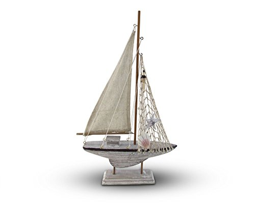 Puzzled Wood Sailboat Model with Seashell Starfish & Fishing Net, 18