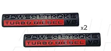 Black Amiono 2X POWER STROKE Turbo DIESEL V8 DOOR Fender EMBLEM BADGE FOR F-350 F-250