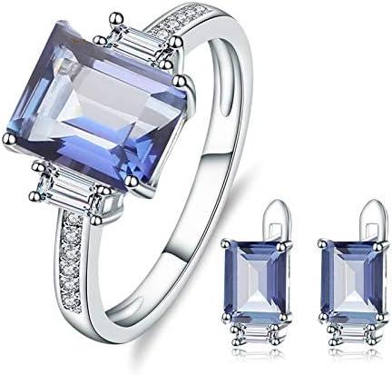 AdronQ® Juego de joyas de plata de ley 925 pendientes con piedras de cuarzo místico natural azul iolita juego de pendientes para mujer joyas refinadas