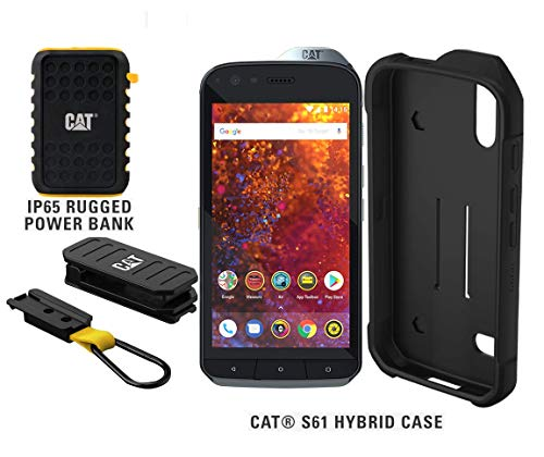 CAT S61 Single SIM 64GB Unlocked Smartphone with 10,000mAh Rugged Power Bank & CAT S61 Hybrid Case - US Version - 2 Year Warranty