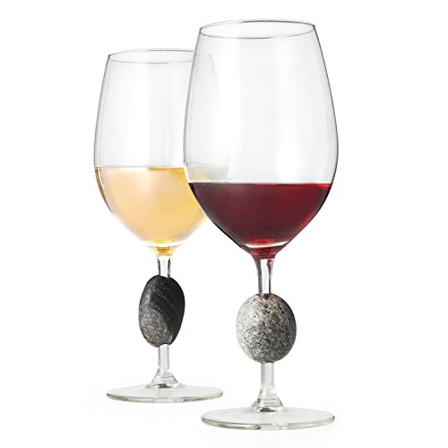 - Touchstone Wine Glasses - Unique, Elegant & Modern Stone Stemmed Wine Glasses - Set of 2