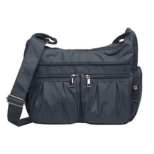 (Volganik Rock Shoulder Bag Corss-body Purse Waterproof Nylon Handbags with Zipper for Women(8981_Gray))