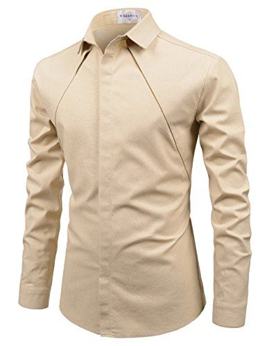 NEARKIN (NKNKS671 Mens Spread Collar Chest Line Hidden Button Fitted Shirts Beige US XS(Tag Size XS)