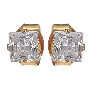 E'arrs Women's 4 x 4 Cubic Zirconia Square Stud Earrings