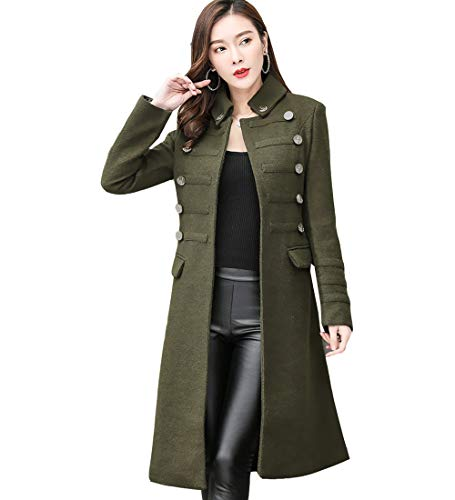S&S-women Olive Stand Collar Belted Straight Dress Coat Long Military Trench Coat