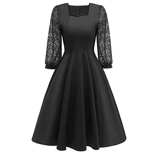 GABERLY Women's Luxury Embroidered Chiffon Lace Vintage Fashion Bridesmaid Evening Party Dress (Black-2, X-Large (US 12-16))